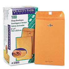 "Quality Park - Clasp Envelope, 6"" x 9"", Brown Kraft - 100/Box"