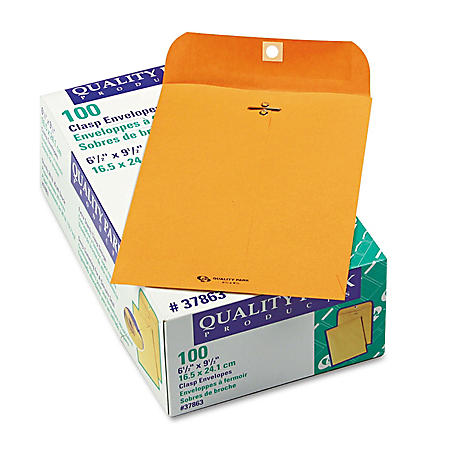 "Quality Park - Clasp Envelope, 6 1/2"" x 9 1/2"", Brown Kraft - 100/Box"
