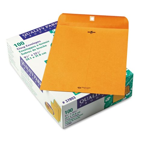 Quality Park - Clasp Envelope, 9 1/2 x 12 1/2, Brown Kraft - 100/Box