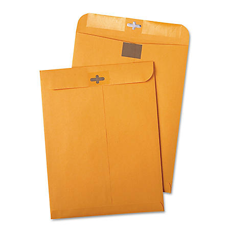 Quality Park - Postage Saving ClearClasp Kraft Envelopes, 9 x 12, Brown Kraft -  100/Box