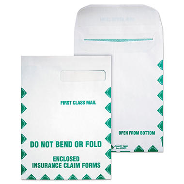Quality Park - Redi-Seal Insurance Envelope, First Class, Side Seam, 9 x 12 1/2, White - 100/Box