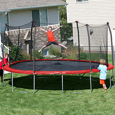 Oval Trampoline & Enclosure - Red - 17' x 15'