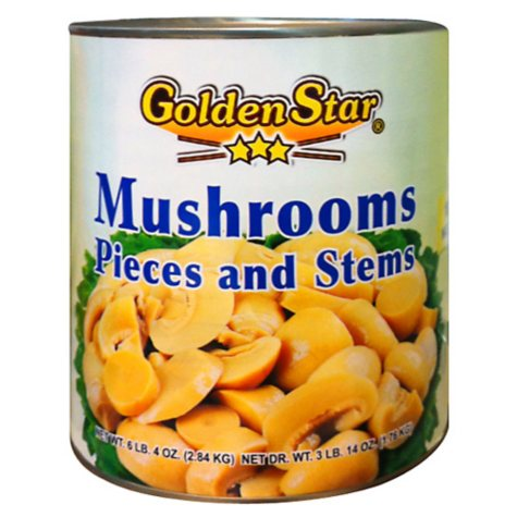 Golden Star Mushrooms Pieces and Stems - 100 oz.