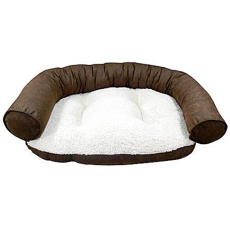 Butler Paisley Recliner Bolster Pet Bed - Chocolate