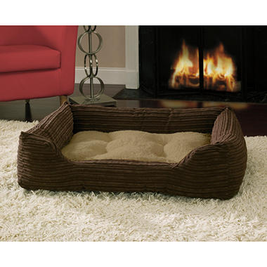 Canine Creations Ribbed Plush Pet Bed - Chocolate Chip
