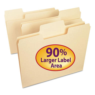 Smead 1/3 Cut Assorted Positions SuperTab File Folders, Manila (Letter, 100ct.)