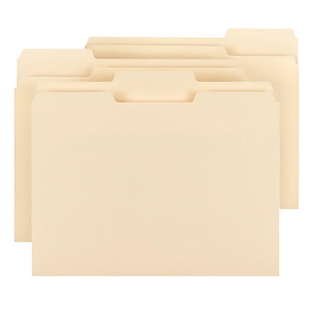 Smead 1/3 Cut Assorted Positions File Folders, Letter, Manila, 150ct.