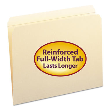 Smead File Folders, Straight Cut, Reinforced Top Tab, Letter, Manila, 100ct.