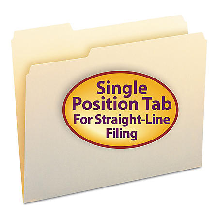 Smead 1/3 Cut Left of Center Position File Folders, Letter, Manila, 100ct.