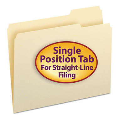 Smead 1/3 Cut Right of Center Position File Folders, Letter, Manila, 100ct.