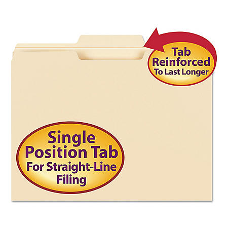 Smead 1/3 Cut Center Position File Folder, Reinforced Top Tab, Letter, Manila, 100ct.