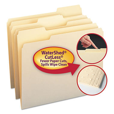 Smead WaterShed/CutLess File Folders, 1/3 Cut Assorted Postion Tab, Letter, Manila, 100ct.
