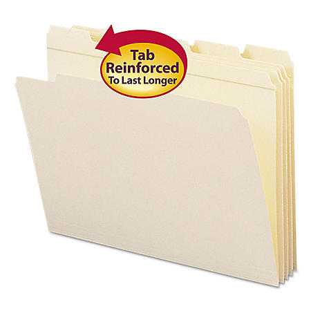 Smead 1/5 Cut Assorted Positions File Folders, Reinforced Top Tab, Letter, Manila, 100ct.