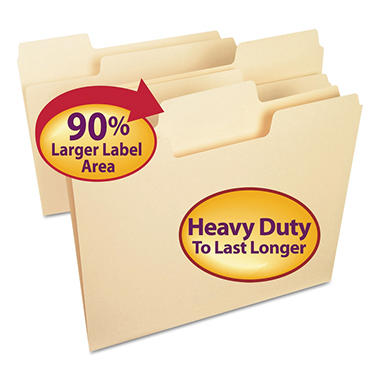 Smead 1/3 Cut Assorted Positions SuperTab Heavyweight File Folders, Manila (Letter, 50ct.)