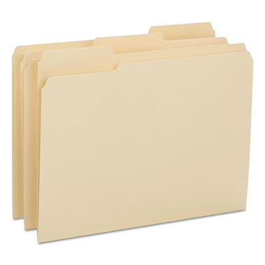 Smead 1/3 Cut Assorted Positions Reinforced File Folder, Letter, Manila, 100ct.