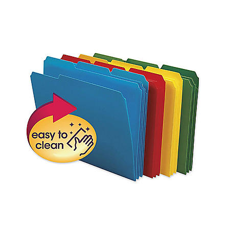 Smead 1/3 Cut Assorted Position Tab Waterproof Poly File Folders, Assorted Colors (Letter, 24ct.)