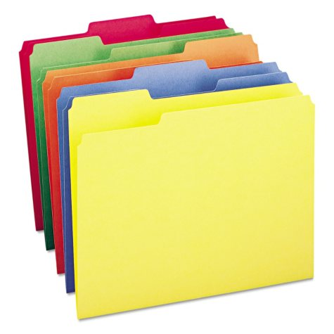 Smead 1/3 Cut Assorted Positions File Folders, Letter, 100ct. Select Color