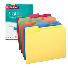 Smead 1/3 Cut Assorted Position Tab File Folders, Letter, Assorted Colors, 100ct.
