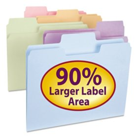 Smead 1/3 Cut Assorted Positions SuperTab File Folders, Letter, Assorted Pastel Colors, 100ct.