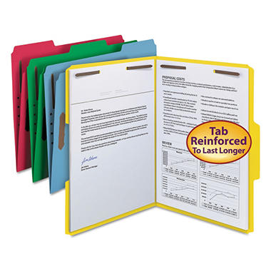 Smead 1/3 Cut Assorted Positions File Folders, Two Fasteners, Letter, Assorted Colors, 50ct.