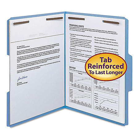 """Smead 3/4"""" Expansion WaterShed/CutLess File Folder, 1/3 Cut Assorted Position Tab, 2 Fasteners, Letter, Blue, 50ct."""