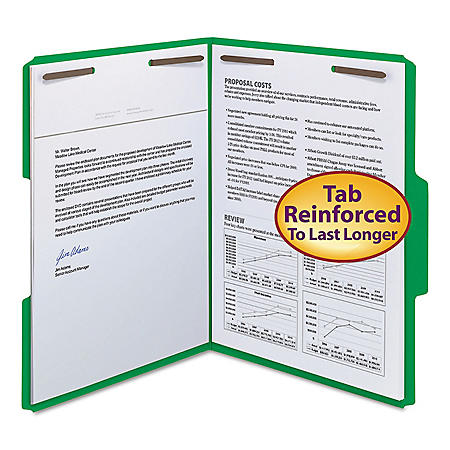 """Smead 3/4"""" Expansion WaterShed/CutLess File Folder, 1/3 Cut Assorted Position Tab, 2 Fasteners, Letter, Green, 50ct."""