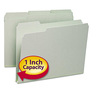 Smead® Recycled Folder, One Inch Expansion, 1/3 Top Tab, Letter, Gray Green, 25pk.