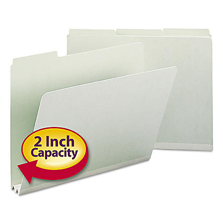 "Smead 2"" Recycled Expansion Folder, 1/3 Cut Assorted Positions, Letter, Gray Green, 25ct."
