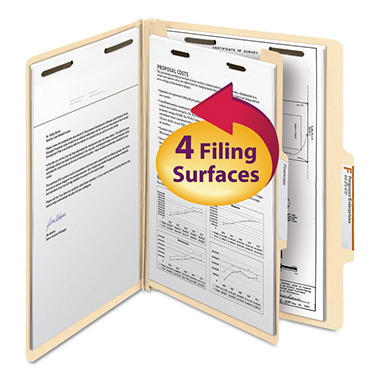 Smead 2/5 Cut Right of Center Position Classification Folders with Divider, Four Sections Legal, Manila, 10ct.