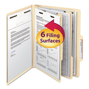 Smead 2/5 Cut Tab Six-Section Classification Folders with Divider, Manila (Letter, 10ct.)