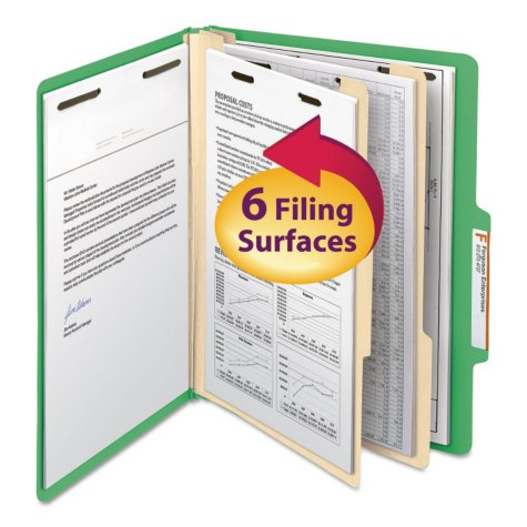 Smead 2/5 Cut Right of Center Tab Classification Folder, Six-Sections, Letter, Green, 10ct.