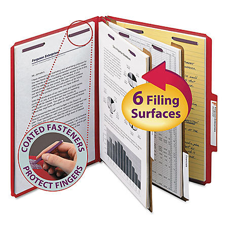 Smead Pressboard Classification Folders with Fasteners, Six-Sections, Letter, 10ct.