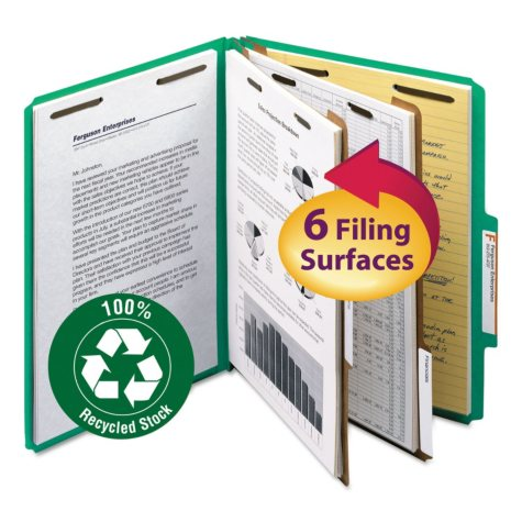 "Smead 2"" Expansion Pressboard Classification Folder, Two Dividers, Letter, Green, 10ct."