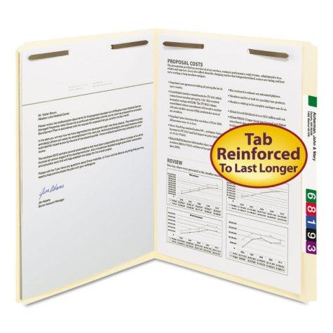 Smead Straight Tab File Folders File Folders, Two Fasteners, Letter, Manila, 50ct.