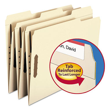 Smead 1/3 Cut Assorted Positions File Folders, Two Fasteners, Letter, Manila, 50ct.