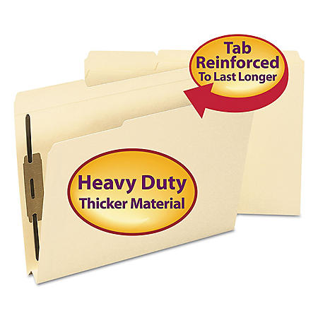 "Smead 1 1/2"" Expansion 1/3 Top Tab 2 Fastener Folder, Manila (Letter, 50ct.)"