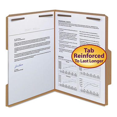Smead 2/5 Cut Single Position Tab 11 Point Kraft Folders, Two Fasteners, Letter, Brown, 50ct.