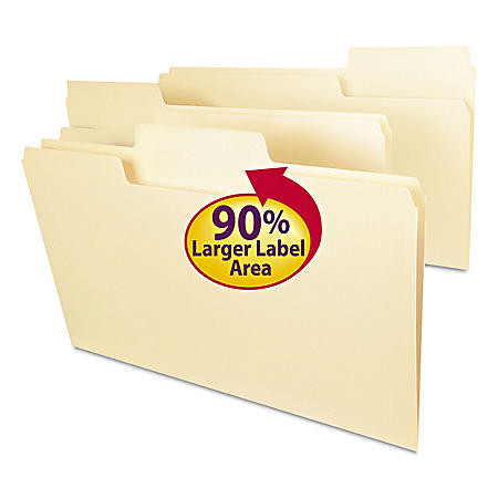 Smead 1/3 Cut Assorted Positions SuperTab Heavyweight File Folders, Manila (Legal,100ct.)