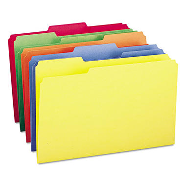 Smead 1/3 Cut Assorted Position Tab File Folders, Assorted Colors,(Legal, 100ct.)