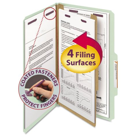 Smead 2/5 Cut Right of Center Position Pressboard Classification Folders, Four-Section, Legal, Gray Green, 10ct.