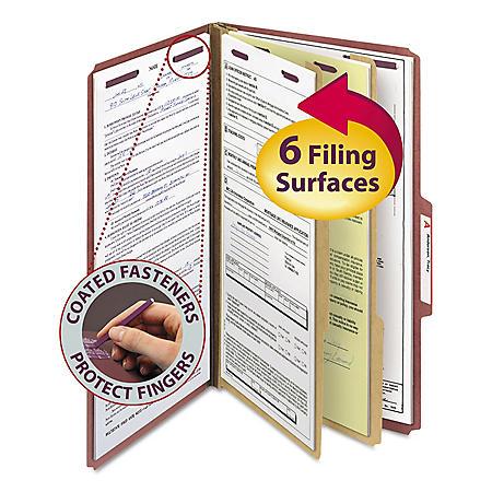 Smead 2/5 Cut Tab Pressboard Classification Folders, Six Sections, Gray Green (Legal, 10ct.)