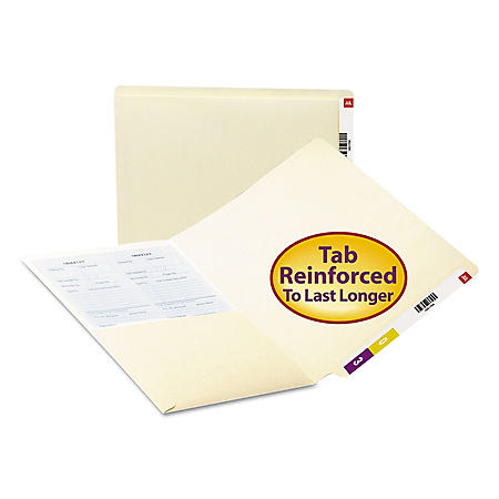 Smead File Folders, Front Interior Pocket, Straight End Tab, Letter, Manila, 50ct.