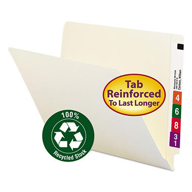 Smead 100% Recycled End Tab File Folders, Letter, Manila, 100ct.