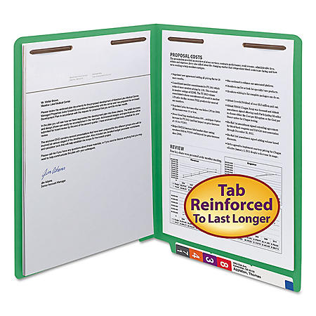 """Smead 3/4"""" Expansion WaterShed/CutLess File Folder, End Tab, 2 Fasteners, Letter, Green, 50ct."""
