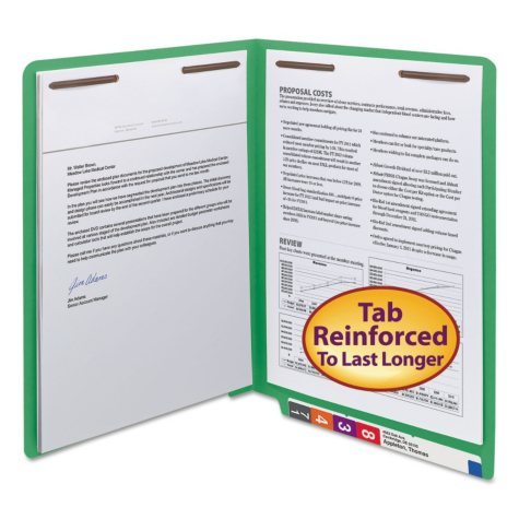 "Smead 3/4"" Expansion WaterShed/CutLess File Folder, End Tab, 2 Fasteners, Letter, Green, 50ct."