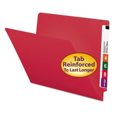 Smead File Folders, Reinforced End Tab, Letter, 100ct., Select Color