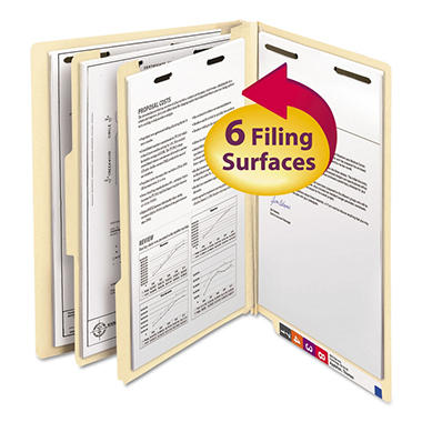 Smead End Tab Classification Folders with Divider, Six Sections, Letter, Manila, 10ct.