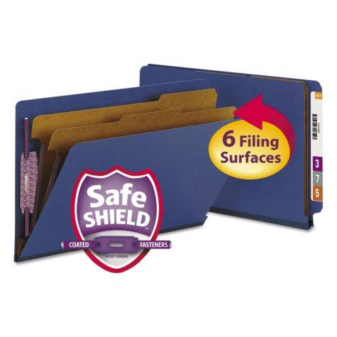 Smead Pressboard End Tab Classification Folders, Six-Section, Legal, Dark Blue, 10ct.