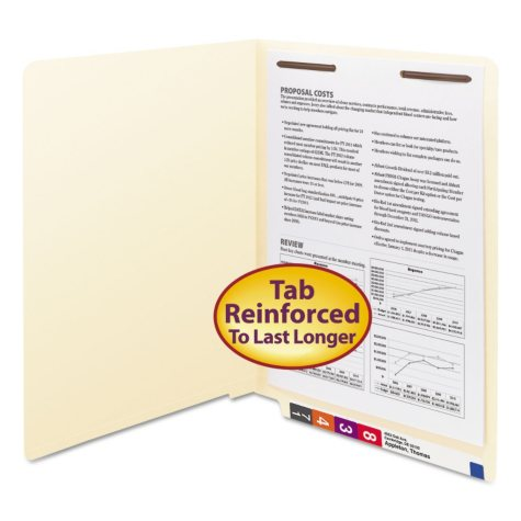 Smead Heavyweight Reinforced Straight End Tab One Fastener File Folder, Manila (Letter, 50ct.)