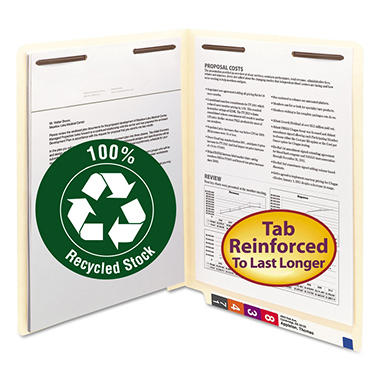 Smead 100% Recycled File Folders, End Tab, B Style Fasteners, Letter, Manila, 50ct.